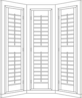 Full height bay window shutter sketch