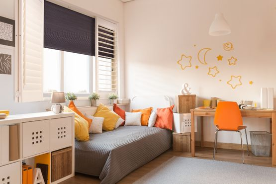 Kids room, shade and shutters, bright colours